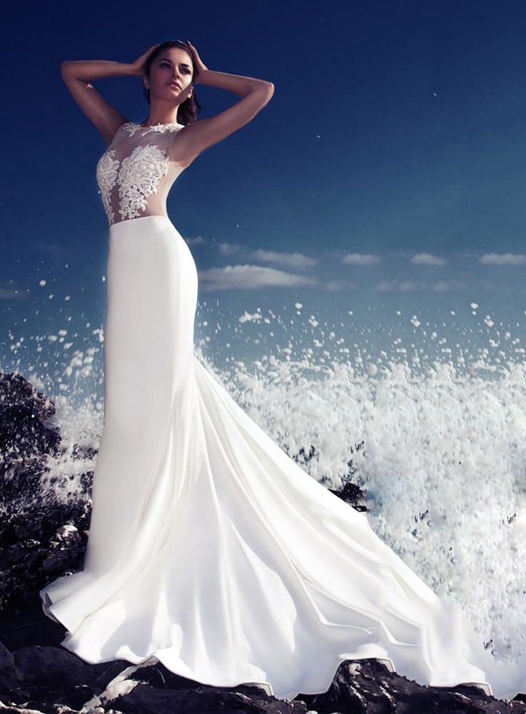 Sexy Scoop Appliques Floor Length Ivory Zipper Up 2016 Wedding Dress