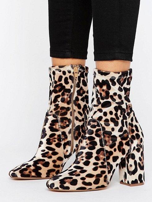 River Island Leopard Print Heeled Sokc Boots
